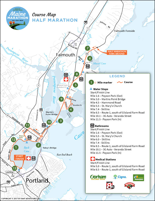 Maine Marathon Half Marathon course map